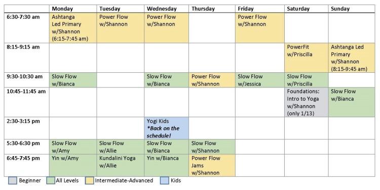 Amador Yoga Schedule of Classes vJanuary Web