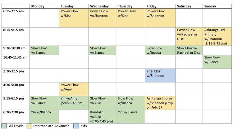 Amador Yoga Schedule of Classes vFeb Web