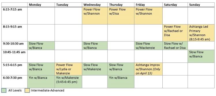 Amador Yoga Schedule of Classes vApril