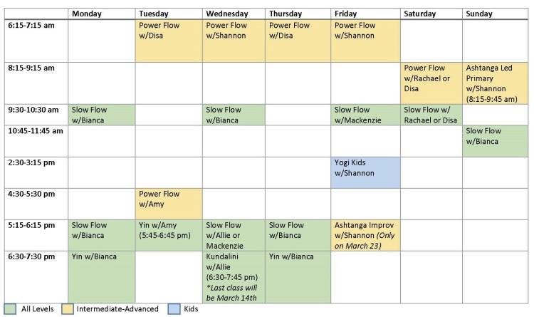 Amador Yoga Schedule of Classes vMarch